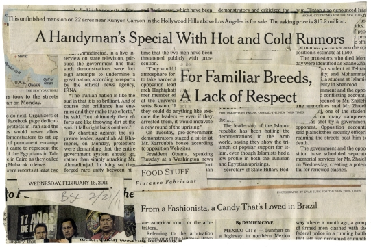 "(For Familiar Breeds) NYT 2-16-11 - BSC 2-21-11  9X6""  BACK"