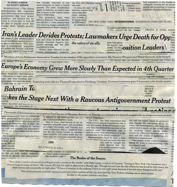 "(Leader Derides Protests) NYT 2-16-11 - BSC 2-21-1  9 3-8x10""  BACK"